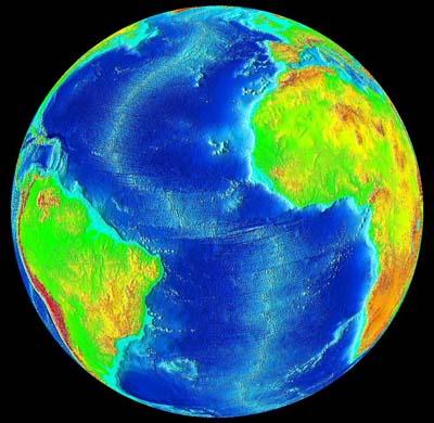 The Mid Atlantic Ridge running down the center of the Atlantic Ocean, USGS
