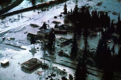 Portage, Alaska after the 1964 earthquake. USGS